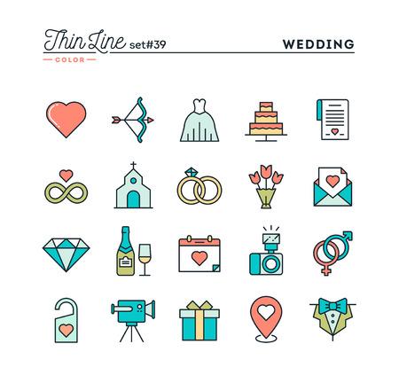 Bruiloft, bruidsjurk, uitnodiging voor het evenement, feest vieren en nog veel meer, dunne lijn kleur pictogrammen instellen, vector illustratie