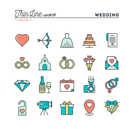 event party: Wedding, bridal dress, event invitation, celebration party and more, thin line color icons set, vector illustration