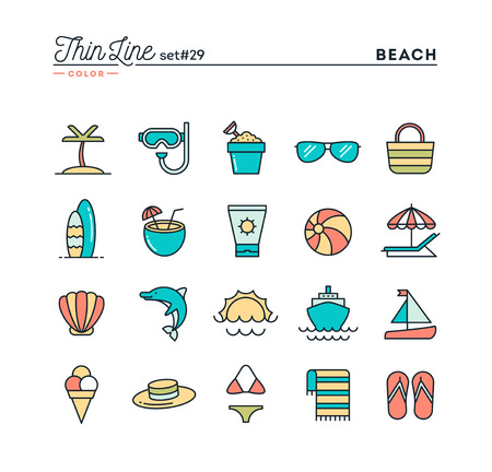 cruising: Tropical beach, summer, vacation, cruising and more, thin line color icons set, vector illustration