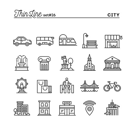 City, transportation, culture, shopping and more, thin line icons set, vector illustration