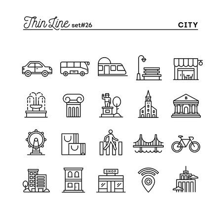 Città, trasporti, cultura, shopping e altro ancora, icone linea sottile set, illustrazione vettoriale
