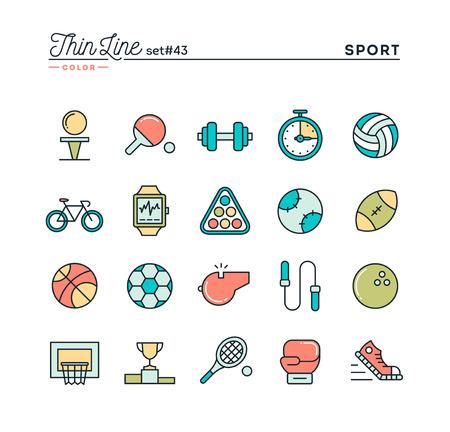 Deportes, recreación, funcionan, equipos y más, los iconos de color de línea de capa delgada, ilustración vectorial