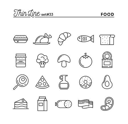 Voedsel, vlees, groenten en meer, dunne lijnpictogram set, vectorillustratie