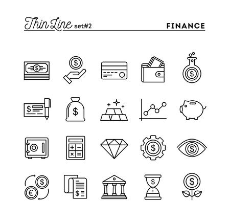 time account: Finance, money, banking, business and more, thin line icons set, vector illustration