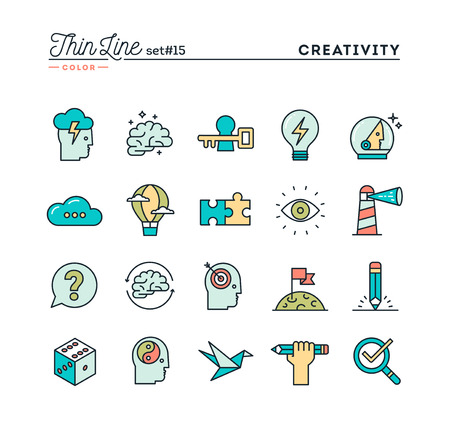 ingenuity: Creativity, imagination, problem solving, mind power and more, thin line color icons set, vector illustration Illustration