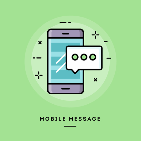 blog design: Mobile message, flat design thin line banner, usage for e-mail newsletters, web banners, headers, blog posts, print and more Illustration