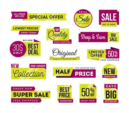 ad: Set of promotional badges and sale tags, modern design, vector illustration