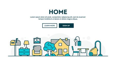 interior design home: House, home, interior, colorful concept header, flat design thin line style, vector illustration