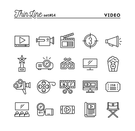 Film, video, shooting, editing and more, thin line icons set, vector illustration Stock Illustratie