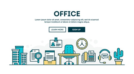 people in line: Office, colorful concept header, flat design thin line style, vector illustration Illustration