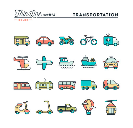 Transportation and vehicles, thin line color icons set, vector illustration Illustration