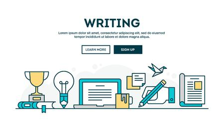 magazine stack: Writing, colorful concept header, flat design thin line style, vector illustration