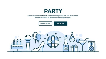 dressing up party: Party, concept header, flat design thin line style, vector illustration Illustration