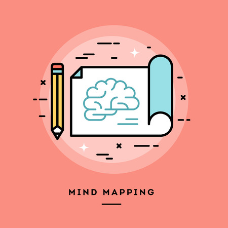 mindmap: Mind mapping, flat design thin line banner, usage for e-mail newsletters, web banners, headers, blog posts, print and more