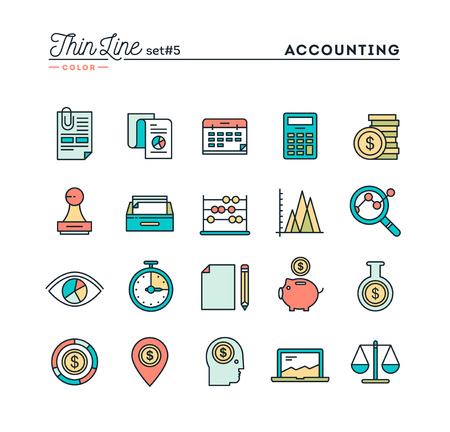 Comptabilité, statistiques sur les entreprises, gestion du temps, de l'argent et plus encore, fine ligne couleur icônes définies, illustration vectorielle
