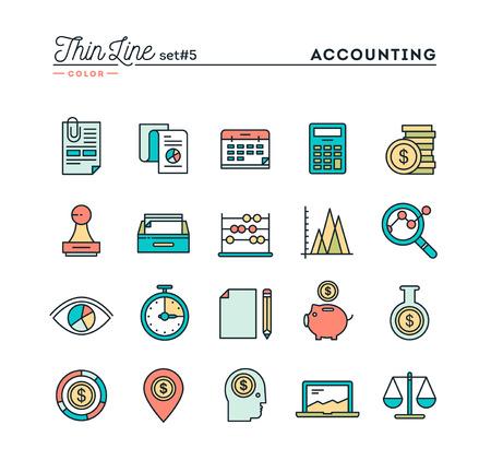 Rechnungswesen, Unternehmensstatistik, Zeit, Geld-Management und vieles mehr, dünne Linie farbige Symbole gesetzt, Vektor-Illustration