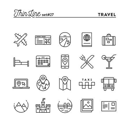 travel destination: Travel, flight, accommodation, destination booking and more, thin line icons set, vector illustration