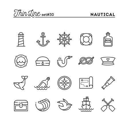Nautical, sailing, sea animals, marine and more, thin line icons set, vector illustration