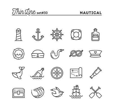 Zeevaart, het varen, zeedieren, marine en nog veel meer, dunne lijn pictogrammen instellen, vector illustratie