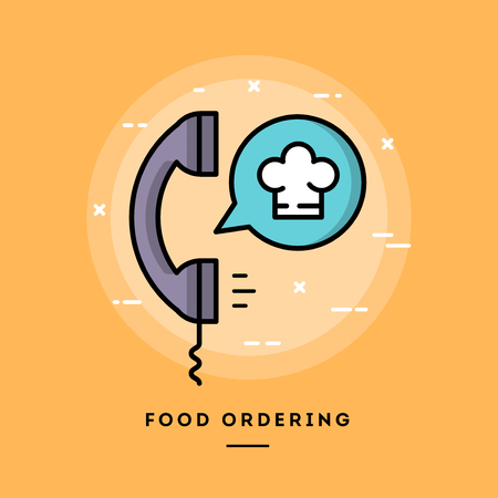 blog design: Food ordering, flat design thin line banner, usage for e-mail newsletters, web banners, headers, blog posts, print and more Illustration