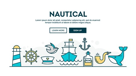 pirate crew: Nautical, colorful concept header, flat design thin line style, vector illustration