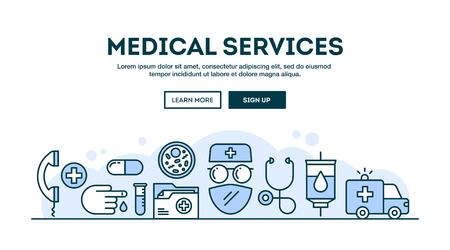 stereoscope: Medical services, concept header, flat design thin line style, vector illustration