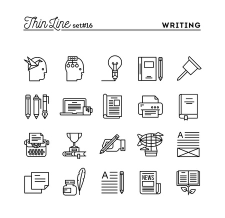 best book: Writing, blogging, best seller book, storytelling and more, thin line icons set, vector illustration