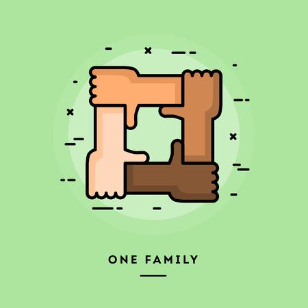 Eén gezin, platte ontwerp dunne lijn banner, het gebruik van e-mail nieuwsbrieven, webbanners, headers, blog posts, print en meer Stock Illustratie