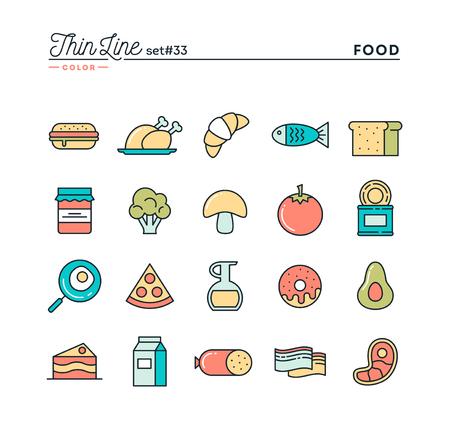 alimentos y bebidas: Comida, carne, verduras y más, los iconos de color de línea de capa delgada, ilustración vectorial Vectores