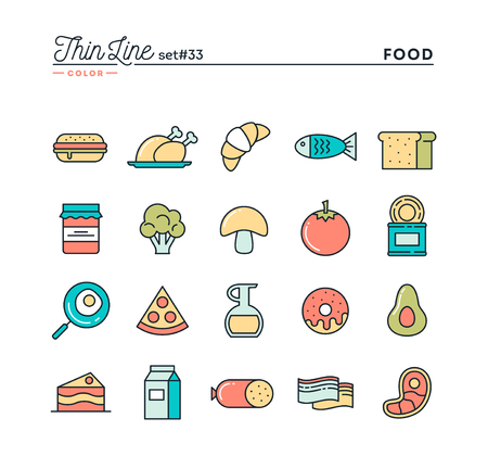 food and drinks: Food, meat, vegetables and more, thin line color icons set, vector illustration