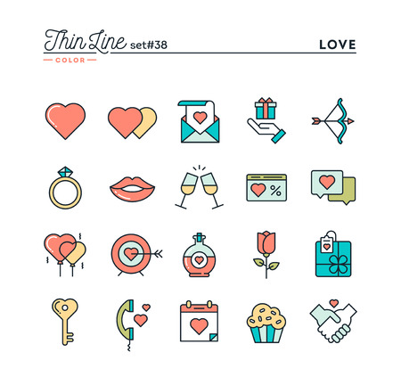 dating and romance: Love, Valentines day, dating, romance and more, thin line color icons set, vector illustration