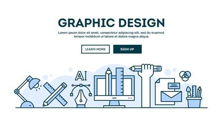 グラフィック デザイン、コンセプト ヘッダー、フラットなデザインの細い線のスタイル、ベクトル イラスト