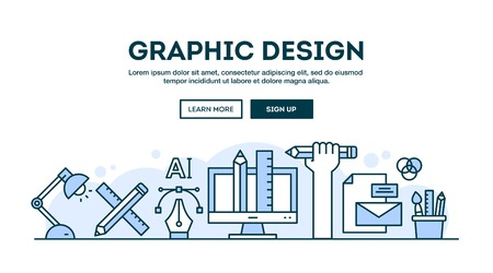 Graphic design, concept header, flat design thin line style, vector illustration