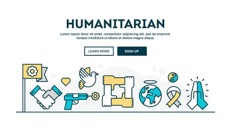 humanitarian: Humanitarian, colorful concept header, flat design thin line style, vector illustration