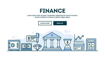 finance icons: Finance, concept header, flat design thin line style, vector illustration