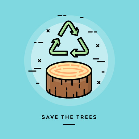 blog design: Save the trees, flat design thin line banner, usage for e-mail newsletters, web banners, headers, blog posts, print and more