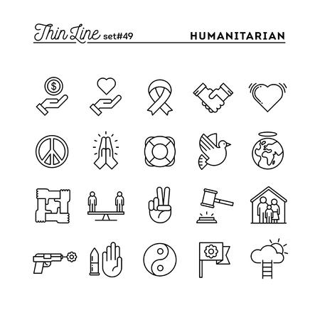 Humanitäre, Frieden, Gerechtigkeit, Menschenrechte und mehr, dünne Linie Icons Set, Vektor-Illustration