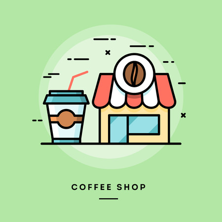 energized: Coffee shop, flat design thin line banner, usage for e-mail newsletters, web banners, headers, blog posts, print and more