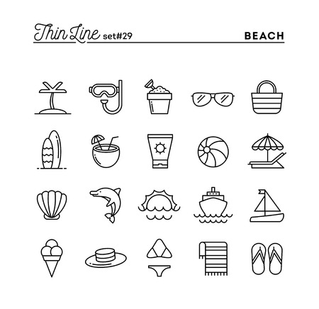 cruising: Tropical beach, summer, vacation, cruising and more, thin line icons set, vector illustration