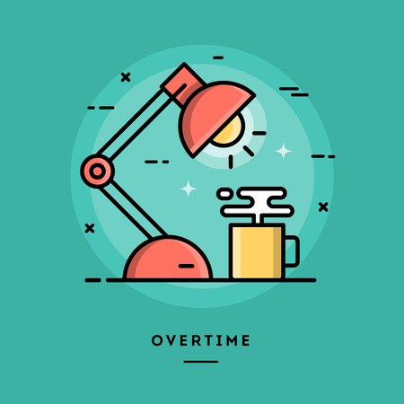 overtime: Overtime, flat design thin line banner, usage for e-mail newsletters, web banners, headers, blog posts, print and more