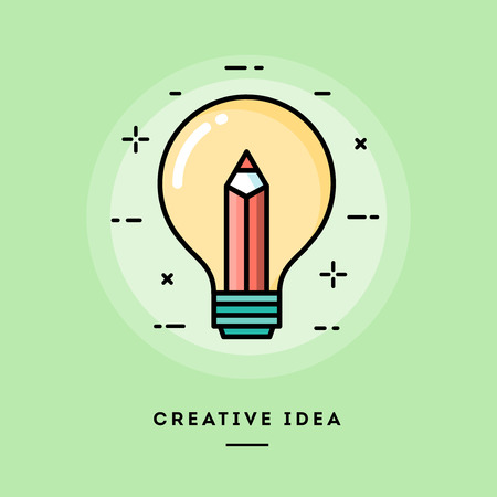 content writing: Creative idea, flat design thin line banner, usage for e-mail newsletters, web banners, headers, blog posts, print and more