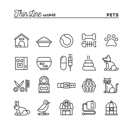 by the collar: Pets, thin line icons set, vector illustration