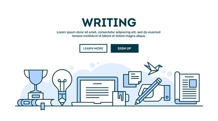 Writing, concept header, flat design thin line style, vector illustration