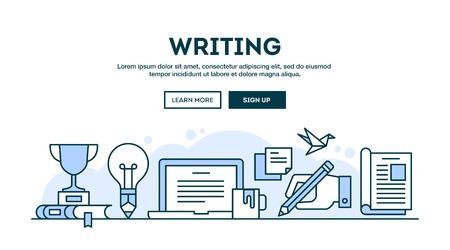 Writing, concept header, flat design thin line style, vector illustration