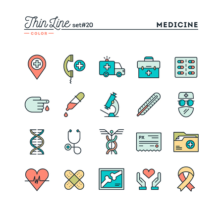 Medicine, health care, emergency, pharmacology and more, thin line color icons set, vector illustration