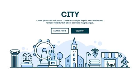 church people: City, concept header, flat design thin line style, vector illustration