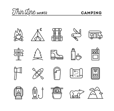 Camping, hiking, wilderness, adventure and more, thin line icons set, vector illustration Illusztráció