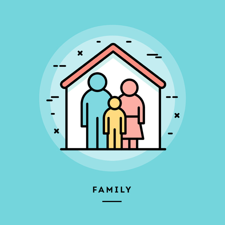family units: Family, flat design thin line banner, usage for e-mail newsletters, web banners, headers, blog posts, print and more