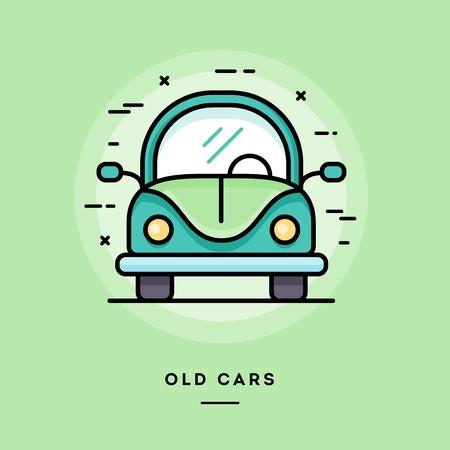 escarabajo: coches viejos, diseño plano delgada línea bandera, el uso de boletines de correo electrónico, banners web, cabeceras, blogs, impresión y más