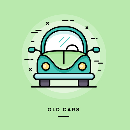 old cars: Old cars, flat design thin line banner, usage for e-mail newsletters, web banners, headers, blog posts, print and more